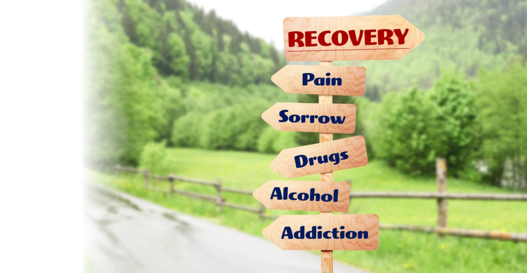 recovery, pain, sorrow, drugs, alcohol, addiction sign board